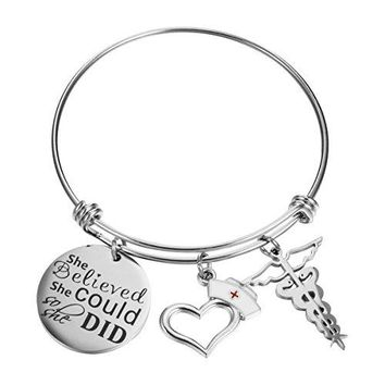 FCHEN Nurse Gifts Bangle Caduceus Charms Bracelets Graduation Gift for Her Women