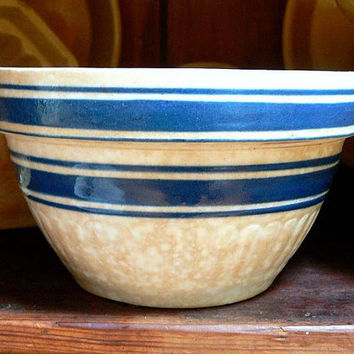 Antique Yelloware Bowl with Blue Bands TREASURY by EitherOrFinds