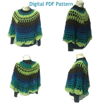 Peacock Crochet Poncho Pattern Round Shawl Handmade Crochet Pullover Poncho Capelet Coverup  not a finished product. It is a PDF Pattern