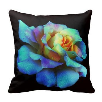 Turquoise N Yellow Tie Dyed Rose Throw Pillow