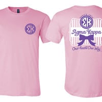 SK // Sigma Kappa // Striped Bow Motto // Unisex Short Sleeve