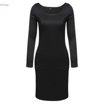 FANALA 2016 Autumn Sweatshirt Dress Black Casual Office Dress Women Long Sleeve Bodycon Dress Sexy Party Dresses Vestidos