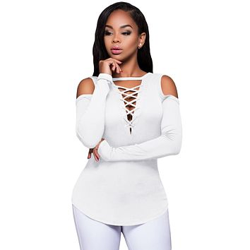 White Long Sleeve Cut-out Shoulder Ribbed Top
