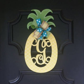 Pineapple Monogram Door Hanger Summer Wreaths Double Door Pineapple Yellow Green Turquoise Welcome Door Hanger Monogram Wedding Gift Shower