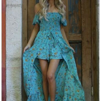 2018 Spring Women's Mint Floral Maxi Romper With Surplus the New Misses Line