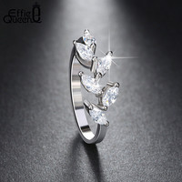 DALI 2016 New Style White Gold Plated Ring for Women with Cubic Zircon Stone Vintage Leaf Shape Rings DAR071