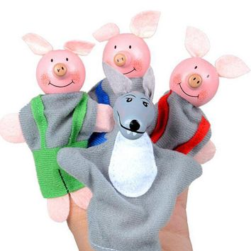 ICIKU7Q 4PCS Three Little Pigs And Wolf Finger Puppets toys Hand Puppets Gifts Baby girls boys Finger Puppet toys for children