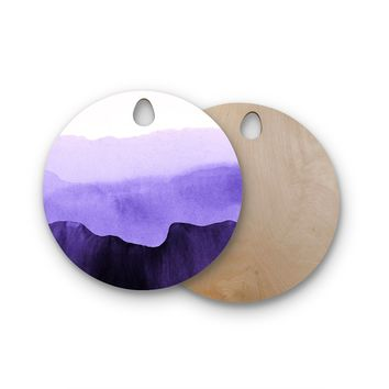 """Iris Lehnhardt """"Mountain Horizon"""" Purple Lavender Abstract Nature Painting Watercolor Round Wooden Cutting Board"""