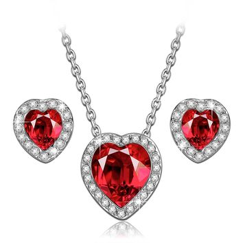 "Lady ""True Love"" Ruby Heart Necklace and Earrings Jewelry Set, Made With Swarovski Crystals"