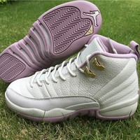 Air Jordan 12 GS Plum FOG Women Basketball Shoes GS Heiress Light Bone Metallic Gold Star Classic Style Sneakers Sent With Box