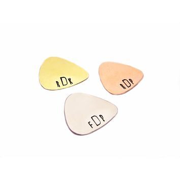 Custom Hand Stamped Guitar Pick / Gift for Him / Monogrammed Groomsmen Gift - Personalized Gift - Custom Guitar Pick