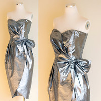 Vintage 1980s Silver Metallic Party Dress  by FieryFinishVintage