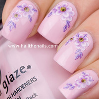 Lilac Daisy Flower Nail Art Water Transfer Decal