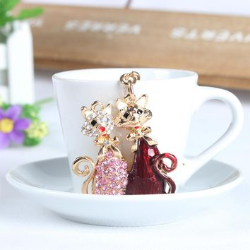 Lover Cat Butterfly Pendent Key Chain
