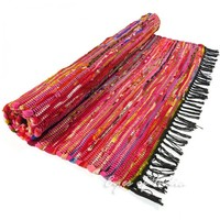 3.5 X 5.5 ft PINK COLORFUL WOVEN CHINDI RAG RUG Boho Bohemian Indian Decor