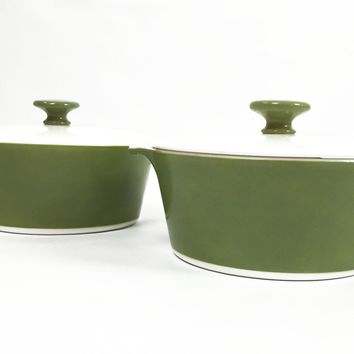 1970's Mid Century - Corningware - Avocado Green - Circa 1950 - Kitsch Kitchen - Gift for her - Vintage Houseware - Vintage Kitchen