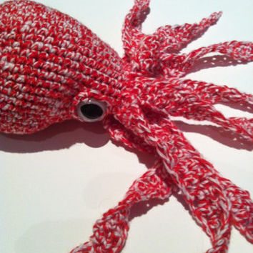 Red and White Octopus Plushie Plush Octopus Stuffed Animal