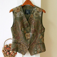 Burberry vintage wool vest paisley and rose embroided authentic