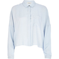 River Island Womens Light blue stripe cropped shirt