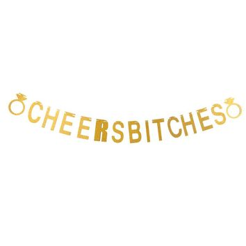 1Pcs Gold Sparkly Let's Party Bitches&Cheers Bitches Photo Backdrop Birthday Party Banner Bachelorette Party Banner Party Favor