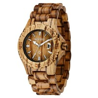 Bewell Handcrafted Natural Zebrawood Men's Wood Watch With Beautiful Wood Grain Brown Father Day Gifts