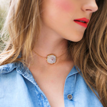 Solar Agate Stone Choker Necklace