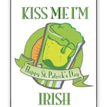 St. Patrick's Day Kiss Me I'm Irish Happy St. Patty's Day iPhone 5 Quality Hard Snap On Case for iPhone 5/5S - AT&T Sprint Verizon - Black Frame
