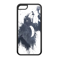 Wolf Song 3 Black Silicon Rubber Case for iPhone 5C by Balazs Solti