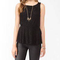 Textured Lace Peplum Top