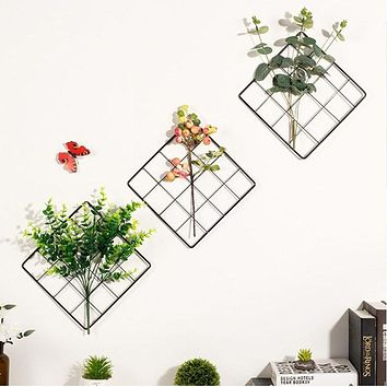 Wall Hanging Metal Grids Photos Grids Flowers Plants Iron Storage Rack Holder Organizer DIY Home Dorm Decoration Gifts 2 Colors