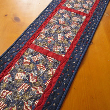 Handmade Quilted Table Runner Patriotic Flags