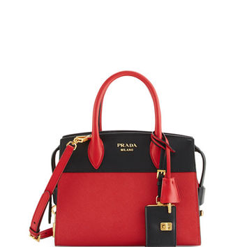 Prada Esplanade Medium Bicolor City Satchel Bag, Red/Black (Fuoco/Nero)