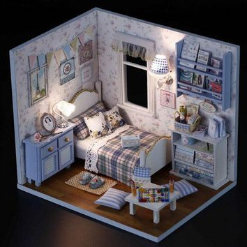 ICIK272 1PCS Happy Series DIY Wooden Doll House Room Box Handmade 3D Miniature Dollhouse Wood Educational Toys Girl Gifts