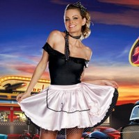 Sexy Adult Halloween DreamGirl Fabulous 50's Girl Costume w Poodle Skirt- Medium
