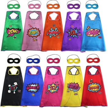 Cool 10 pcs SPECIAL 70*70 cm Super Heroes Party Capes Masks Stickers Costumes For Girls Cosplay Christmas Gifts Wedding CostumesAT_93_12