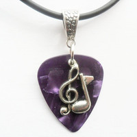 "Purple Guitar pick necklace with treble clef music note charm that is adjustable from 18"" to 20"""