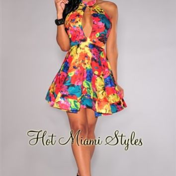 Multi-Color Floral Print Peep-Hole Halter Flared Dress