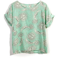 Tatoo Print T-shirt in Mint / Yellow