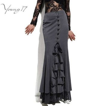 Young17 Skirt Long Frilly Women Sexy Fishtail Corset Lace Up Slim Floor Length Vintage Trumpet Sexy Gothic Style Mermaid Skirts
