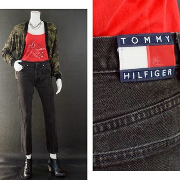 Vintage Black Denim Jeans, 80s Tommy Hilfiger Jeans, Urban Streetwear Fashion Jeans, High Waisted Straight Leg Jeans, Women's Size 5/32