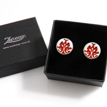 15mm red ceramic cufflinks. Original, handmade ceramics inside of silver plated findings. Elegant, distinctive. Gift for him, gift for boss
