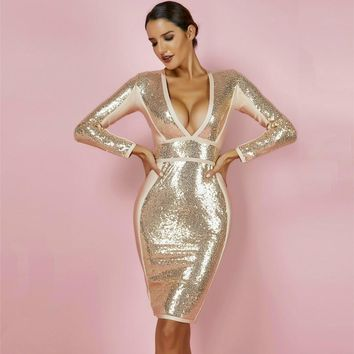 Gold Long Sleeve Deep V Neck Sequin Bandage Dress