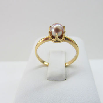 Vintage Pearl Ring Pink Pearl Ring 10k Yellow Gold Ring Gold Pearl Ring Engagement Ring - US Size 6.5