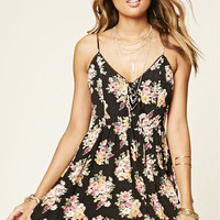 Floral Lace-Up Cami Dress