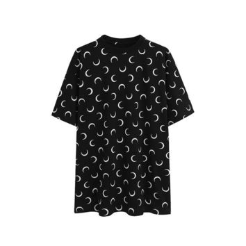 Tops and Tees T-Shirt Crescent Pattern Harajuku T-shirt Women Moon T Shirt Unisex Gothic Girls Top Tee Loose Hipster Summer Best Friend  Oversized AT_60_4 AT_60_4