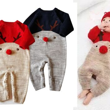 2018 Newbron baby Knitted sweater christmas reindeer romper Baby Clothes Infant Jumpsuits Outerwear Kid Boy Clothes