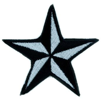 ac spbest White Nautical Star Patch Iron on Applique Alternative Clothing Tattoo Rockabilly