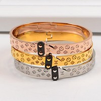 LV Louis Vuitton Fashion Women Men Monogram Stainless Steel Bracelet Jewelry(3-Color) I-HLYS-SP