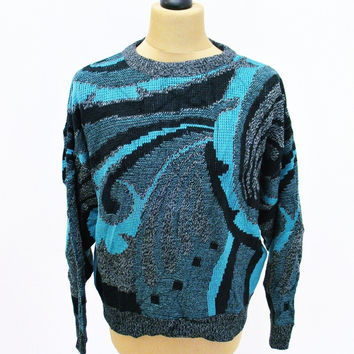 Vintage 1990s COSMIC INFINITY Sweater Jumper XL Psychedelic Crazy Pattern