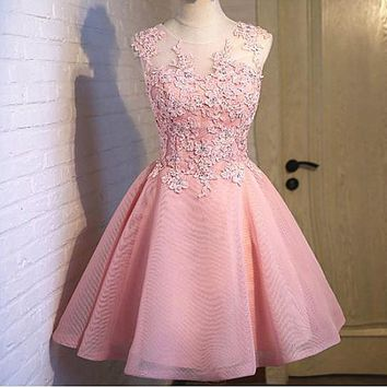 One-nice™ Wedding bridesmaid dress new short sleeve dress pink